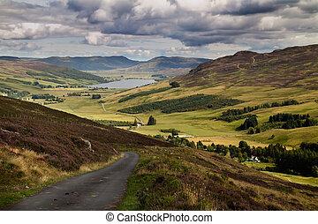 Glen Quaich Scotland - Glen Quaich and Loch Freuchie in...