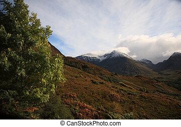 Glencoe Mountains on a sunny day