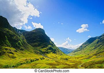 Glencoe or Glen Coe mountains and pass, panoramic view landscape in Lochaber, Scottish Higlands, Scotland. UK.