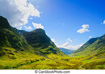Glencoe or Glen Coe mountains and pass, panoramic view...