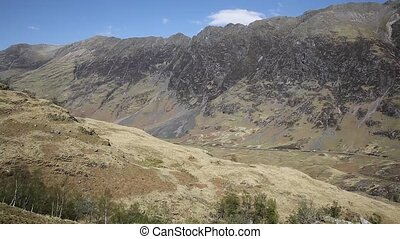 Glencoe Scotland UK elevated view of famous Scottish glen mountains and distant traffic