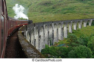 glenfinnan, viaduc, train, vapeur