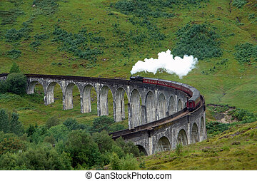 Glenfinnan Viaduct and steam train - the Glenfinnan Viaduct...