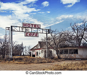 Glenrio, next to the TX-NM state line, USA. March 10 2019.Ghost town on Route 66.