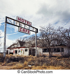 Glenrio, next to the TX-NM state line, USA.March 10 2019.Ghost town on Route 66.