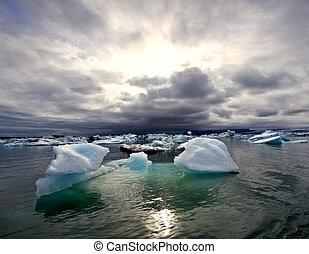 gletscher, jokulsarlon, aus, turbulent, see, sonnenuntergang