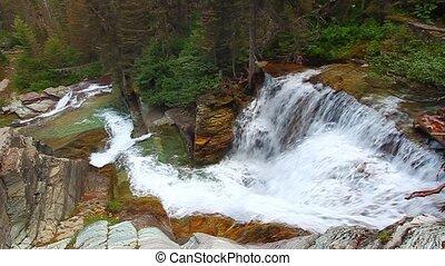 gletscher, national, wasserfall, park