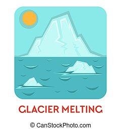 gletscher, schmilzender , und, treibhauseffekt,...