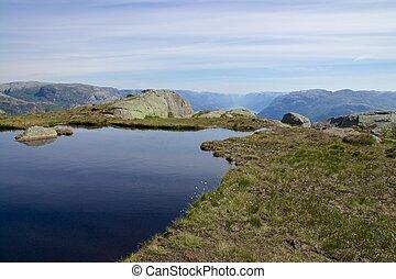 gletscher, see, und, lysefjord