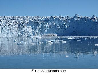 gletsjer, calving, greenland., eqi