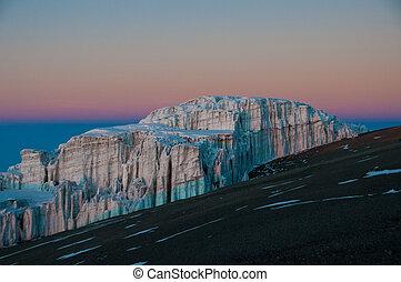 gletsjer, kilimanjaro, zonopkomst