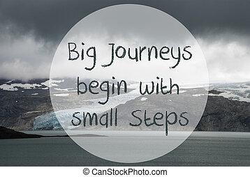 gletsjer, meer, groot, reizen, beginnen, met, kleine, stappen