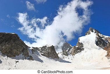 gletsjer, mounts, wolken, winter, sneeuw