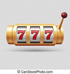 gleuf, casino, symbool, voorwerp, vrijstaand, gelukkig, machine, realistisch, vector, of