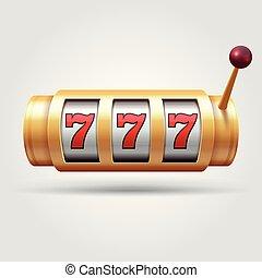 gleuf, haspel, machine., symbool, casino, gelukkig, illustratie, vrijstaand, vector, geluksspelletjes, 3d