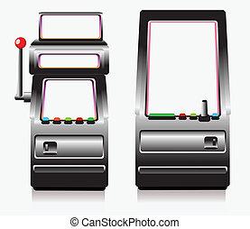 gleuf machine, spel, arcade