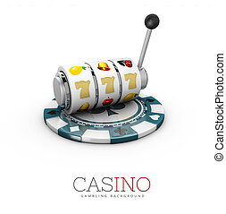 gleuf, splinter, casino, illustratie, machine, 3d