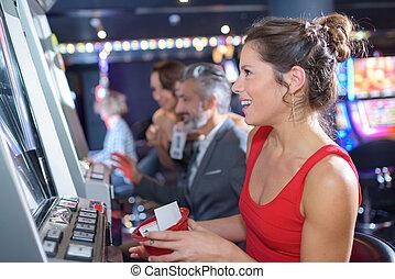 gleuf, vrouw, excalibur, hotel, casino, spelend, machines