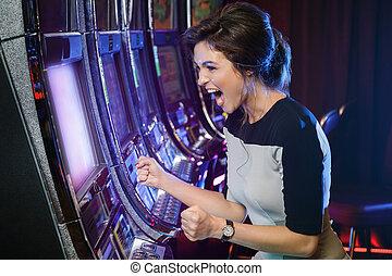 gleuf, vrouw, haar, winnen, machines, vrolijke