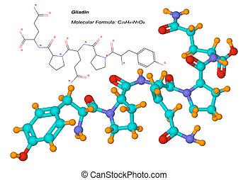 gliadin, μόριο , συστατικό , από , gluten