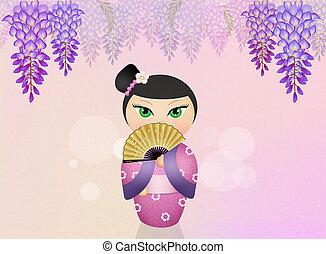 glicina, flores,  kokeshi, muñeca