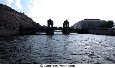glide on river to bridge silhouette