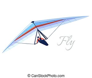 Glider extreme sport. Human pilot fly on hang wing. Vector illustration