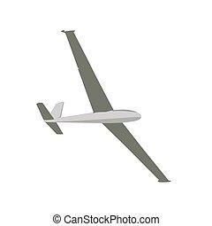 Glider, flat design sailplane vector illustration. Airplane