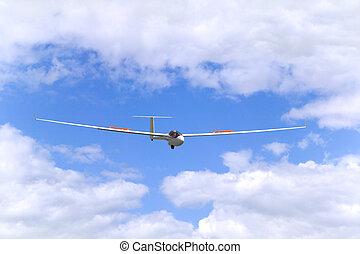 Glider in flight - Modern glider in flight coming into land....