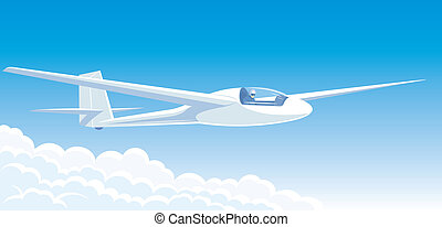 Vector illustration white glider flying above the clouds