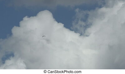 glider on a background of clouds