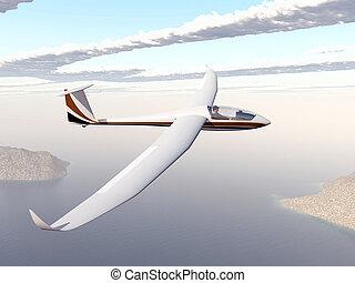 Glider over a coastal landscape - Computer generated 3D...