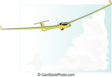 Glider sailplane illustration on sky background