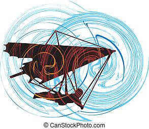 glider., vector, cuelgue, ilustración