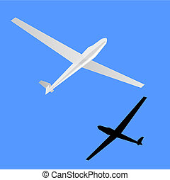 Gliding - Fly a glider, illustration of extreme sports