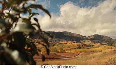 glijbaan, bevestigingslijst, grit, om te, onthullen, bergen, in, herfst
