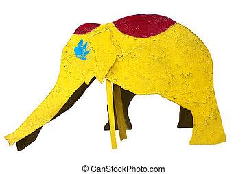 glijbaan, in, de, vorm, van, een, oud, gele, elefant, vrijstaand