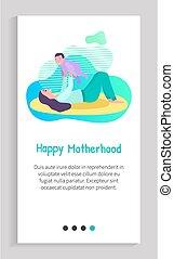 glijder, baby, app, mamma, spelend, moederschap, vrolijke