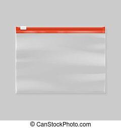 glijder, plastic zak, vector, zipper, transparant, lege