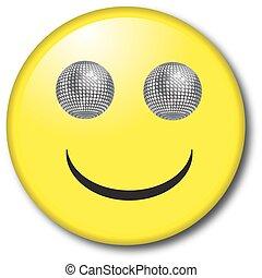 glimlachen, bal, schitteren, gezicht