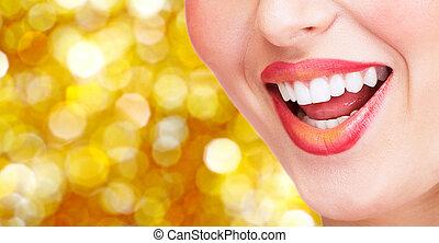 glimlachen, en, gezonde , teeth.