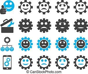 glimlachen, gereedschap, toestellen, iconen