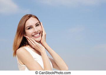 glimlachen, het charmeren, vrouw, vrolijke