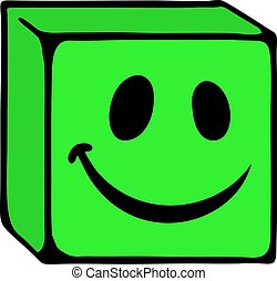 glimlachen, kubus, gezicht