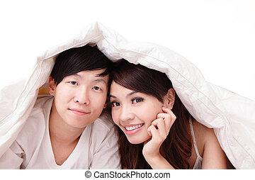 glimlachen, paar, bed, vrolijke