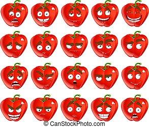 glimlachen, peper, bulgaar, rood, spotprent