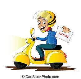 glimlachen, scooter, spotprent, mensen