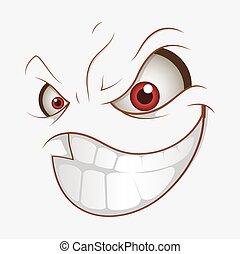 glimlachen, slecht, uitdrukking, spotprent, kwaad