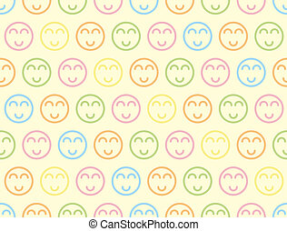 glimlachen, symbool, pastel, seamless, vector