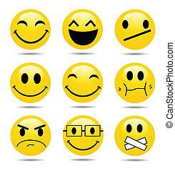 glimlachen, vector, set, pictogram